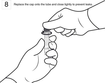 Step 8 : Replace the cap onto the tube and close tightly to prevent leaks. line drawing 일러스트