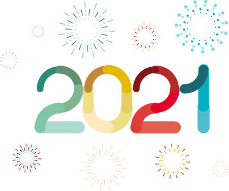 happy new year, colored 2021 numbers, design elements for new year decor, 2021 vector Ilustração