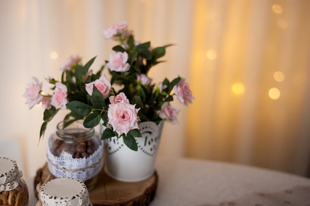 Spectacular spring flowers. Bulbs flowers planter on table at white wooden wall background with bokeh. Springtime floral decoration ideas concept. Various spring flowers im pot