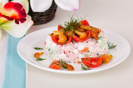 heathy diet: mushroom salad on a plate in a still life Stock Photo