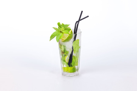 mojito in a glass on a white background photo
