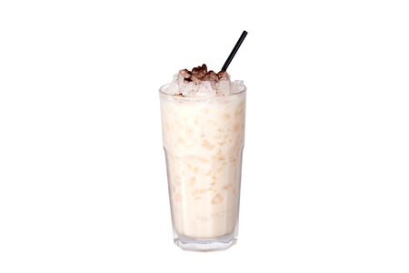milkshake with chocolate chips on a white background