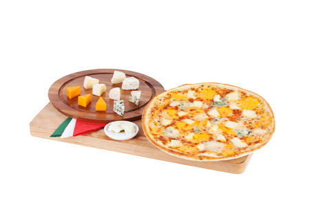 Italian pizza on the board with ingredients photo