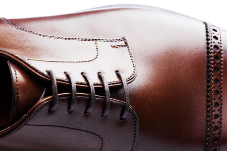 leather shoes: mens leather shoes closeup on white background Stock Photo