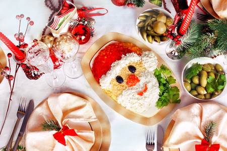 gourmet meal: Christmas Santa Claus face salad serving New Years table