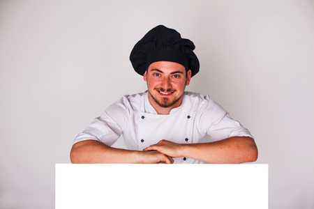 cook on a white background with relies space for writing photo