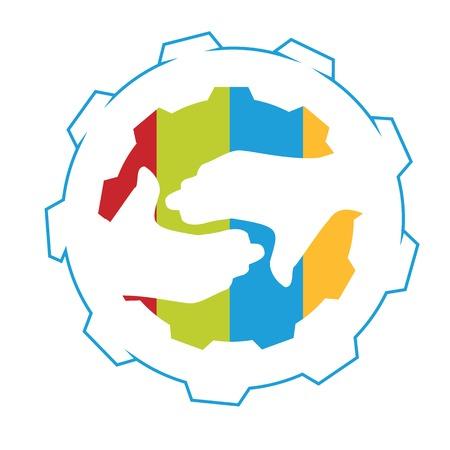 gear handdruk symbool van de industriële samenwerking en synergie Stock Illustratie