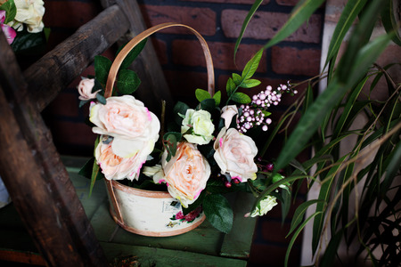 Delightful basket with silk flowers peonies on the shelf stock photo delightful basket with silk flowers peonies on the shelf stock photo 38580694 mightylinksfo