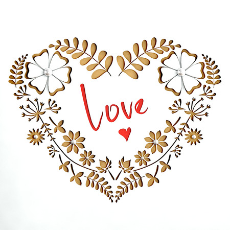 Paper Valentine postcard with heart of flowers. White paper, gold background.