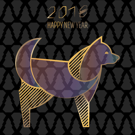 Christmas card in a modern style. Year of the dog. Stylized geometric model of a dog or a puppy. Illustrations with gold lines. Metal decoration.
