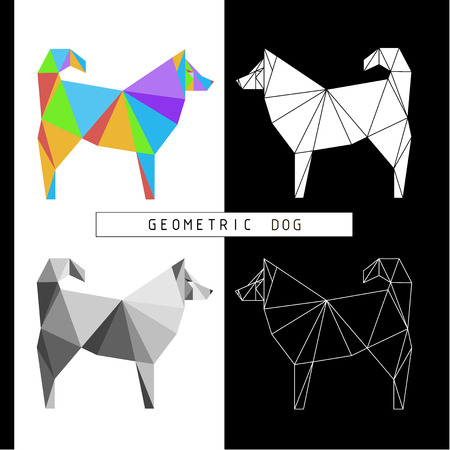 Stylized geometric model of a polygonal dog. Different color combinations. Linear image. Origami. Low polygonal illustrations