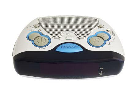 Digital alarm clock on a white background photo