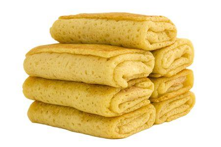 rubicund: Stuffed pancakes on white background