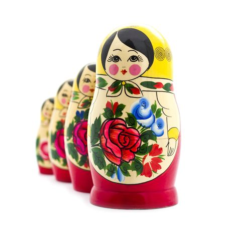 russian nested dolls: matrioshka doll isolated on white