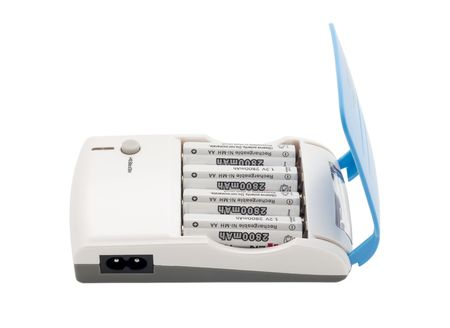 Battery charger isolated in white photo