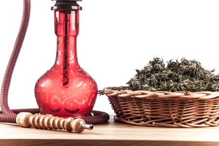 bloat: Red hookah on a white background Stock Photo