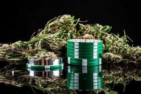Cannabis on a black background photo