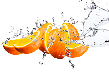 Orange fruits and Splashing water 版權商用圖片