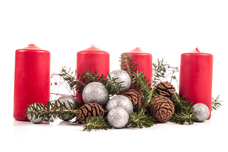 advent season: Advent candles on a white background