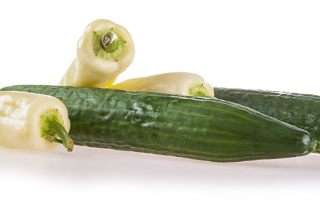 numbering: cucumber and peppers numbering on a white background