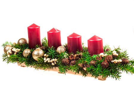advent candles: Advent candles on a white background