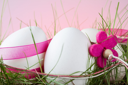 decode: Easter eggs on a colored background Stock Photo