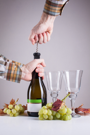 bottle of white wine and a corkscrew for wine Stock Photo