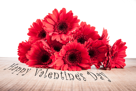 St.Valentines postcard with gerbera Stock Photo