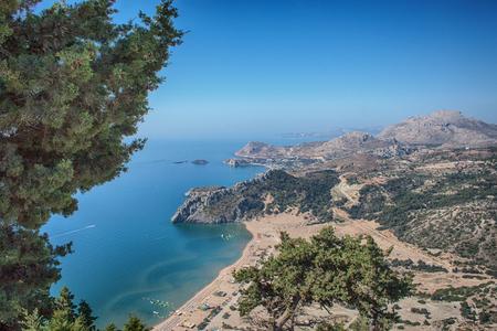 cypress on the Mediterranean Sea, view 版權商用圖片