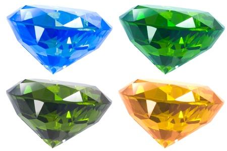 Four Colour Diamond Isolated White Stock Photo - 13835514
