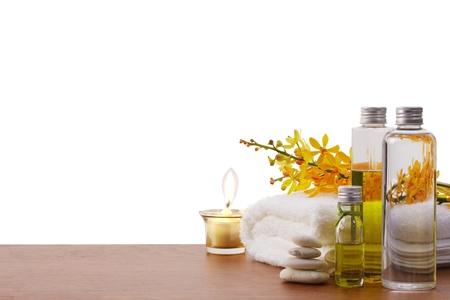 massage huile: réglage spa avec espace de copie