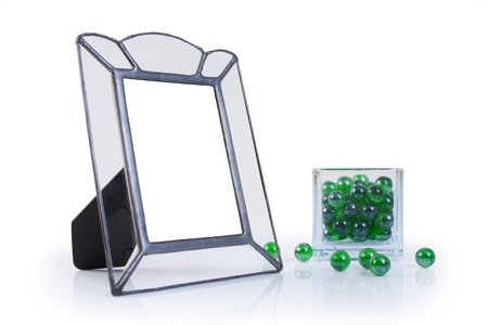 metal and glass picture frame with glass ball Stock Photo - 13836293