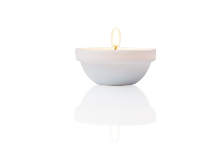 burning candle, isolated on white