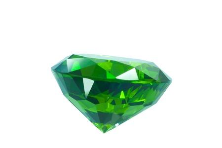 tsavorite: small emerald isolated on white