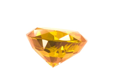 tsavorite: yellow gem isolated on white Stock Photo