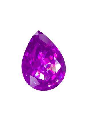 dazzlingly: briolette in purple color isolated white  Stock Photo