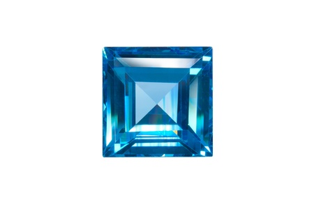 blue sapphire sqaure cut isolated white Stock Photo