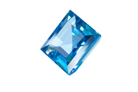 aquamarin: blue sapphire isolated white Stock Photo