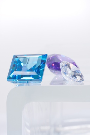 aquamarin: dimonds, blue and purple sapphires