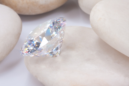 beautiful dazzlingly diamond on white stone Stock Photo - 15479034