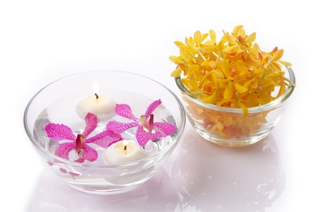 sepals: purple and yellow orchid head with candle