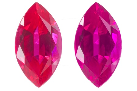 ruby stone: two marquise in different color isolated white
