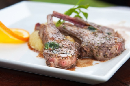 tarragon: selective focus on lamb steak