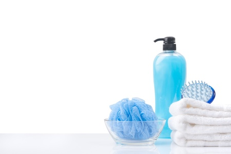 toiletry: blue toiletry set isolated with white copy space Stock Photo