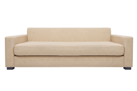 simply modern beige couch  isolated white