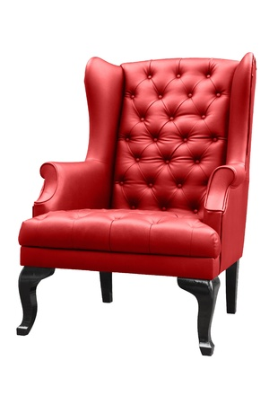 vintage red armchair isolated on white