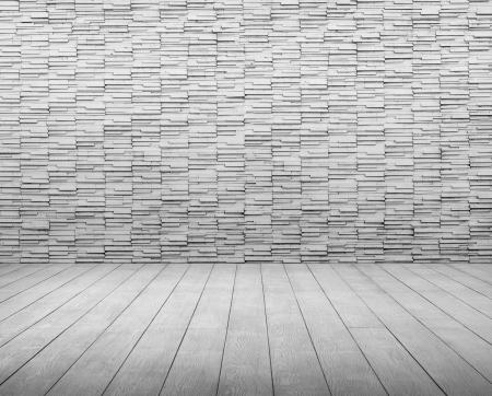 white brick and wood floor room