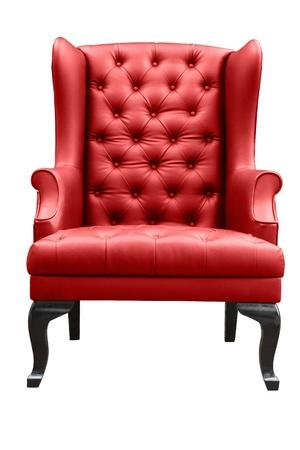 silla de madera: sill�n de cuero rojo aislado en blanco Foto de archivo