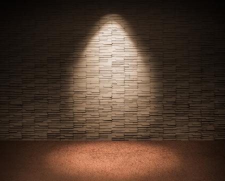 Schlaglicht auf Fliese Wand und roten Boden.