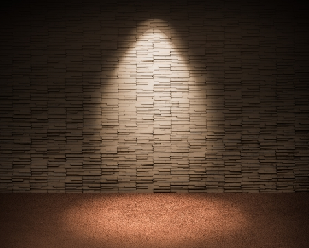 spotlight on tile wall and red floor. Stock Photo